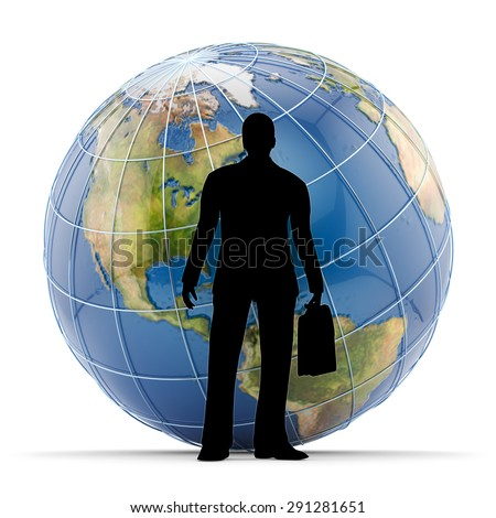 Global business concept, silhouette of successful businessman standing in front of Earth globe isolated on white background (Elements of this image furnished by NASA) - stock photo
