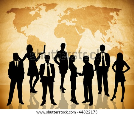 global business concept with lots of business people on world map texture