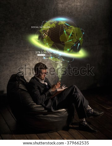 Global business concept with man near planet - stock photo