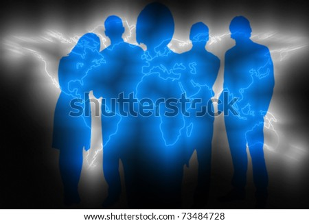 Global business concept with world map and business people - stock photo