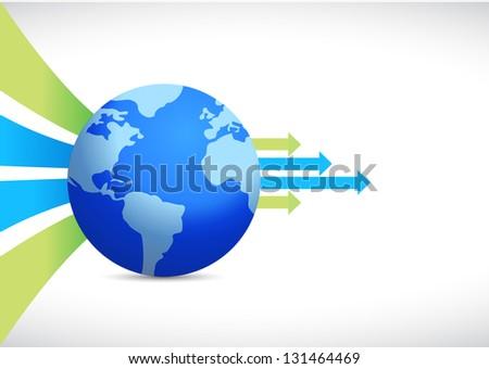 global business design, earth globe illustration over white - stock photo