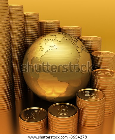 Global Business. Gold Globe with many gold coins around. The coins represents a bar graph.