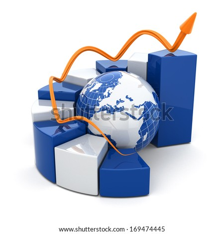 Global business graph on white isolated background. 3d - stock photo