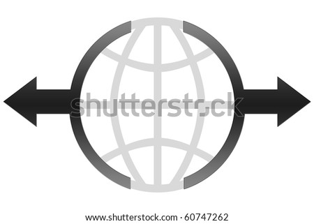 Global Business Icon Concept - black color - stock photo
