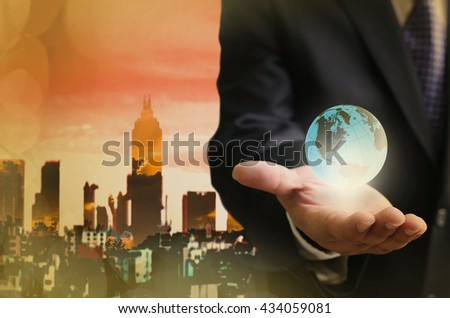 Global business in hand concept