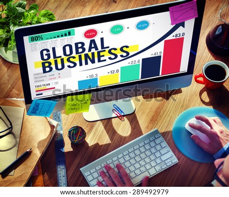 Global Business International Networking Cooperation Concept - stock photo
