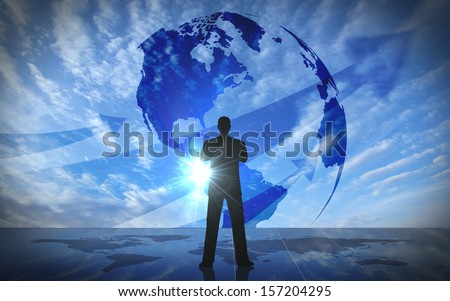 Global Business leader silhouettes rendered with computer graphic. - stock photo