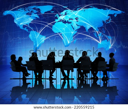Global Business Meeting on Economic Recovery - stock photo