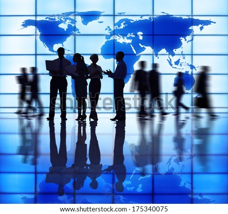 Global Business Meeting Silhouettes - stock photo