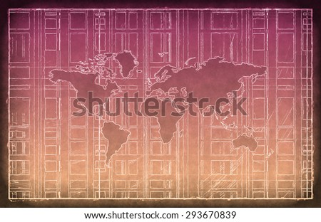 Global Business Network as a Blueprint Sketch - stock photo