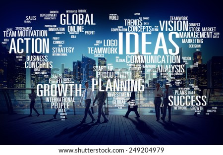 Global Business People Commuter Walking Ideas Concept - stock photo