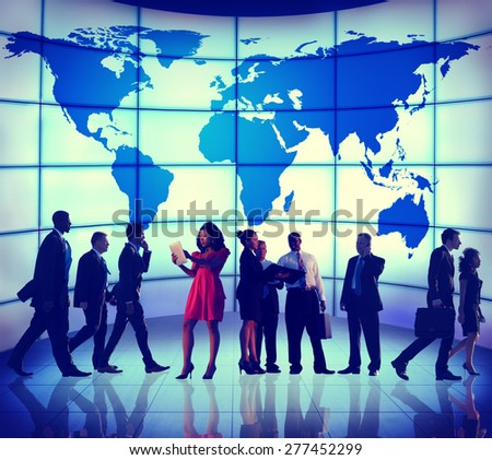 Global Business People Corporate World Map Concept