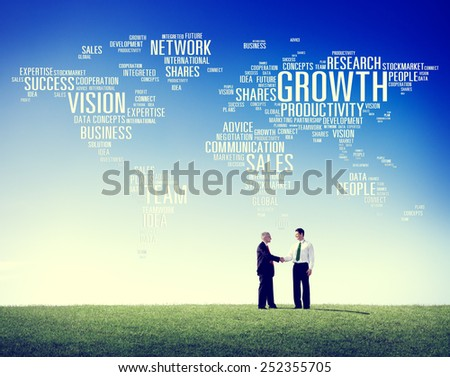 Global Business People Greeting Handshake Success Growth Concept - stock photo