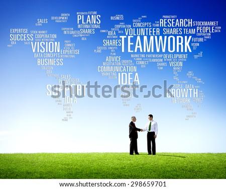 Global Business People Greeting Handshake Teamwork Concept - stock photo