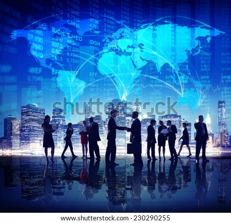 Global Business People Hand Shake Finance City Concept