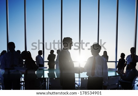 Global Business People Shaking Hands at Sunset - stock photo