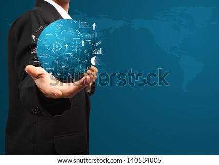 Global business plan in hand of businessman, With creative drawing business strategy plan concept idea - stock photo