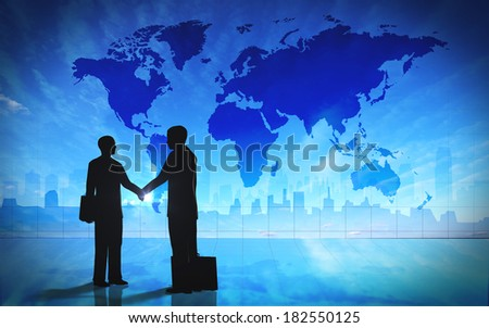 Global  Business shake hand silhouettes - stock photo