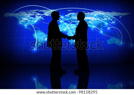 Global business, silhouette of a partner agreement in a global business concept. - stock photo