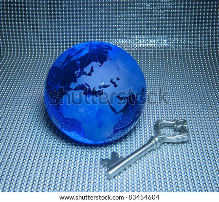 Global business success themes.earth with key - stock photo