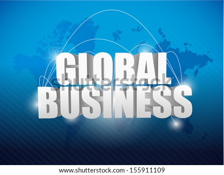 global business world map concept illustration design background - stock photo