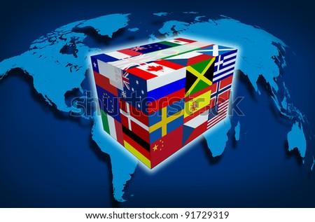 Global Cargo and on line shipping worldwide delivery transport courier with a world map from internet sales and cargo transportation as a box with world flags and tape closed with shadow on a white. - stock photo