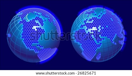 Global cellular network theme. Vector versions see in my portfolio. - stock photo