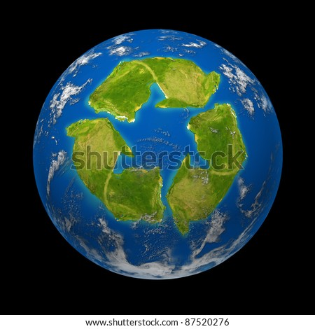 Global change and Earth climate symbol for a planet with a continent in the shape of a recycle symbol for ecological green environmentally friendly recycling program to save the earth from disaster. - stock photo