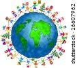global Christmas kids - stock vector