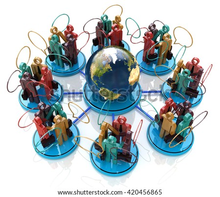 Global communication concept. Social Network in the design of the information related to the communication business people. 3d illustration - stock photo