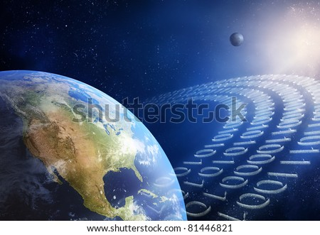 Global communication / data transmission - binary code made from tiny particles ( 3D uv maps from http://visibleearth.nasa.gov ) - stock photo