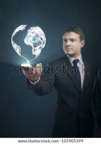 global communication in phone businessman - stock photo