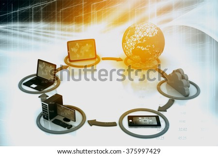 global communication network concept	 - stock photo
