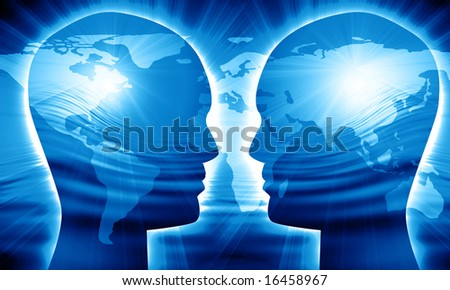 Global communication on a bright blue background - stock photo