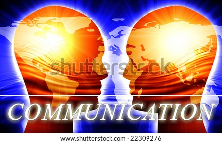 Global communication on a dark blue background - stock photo