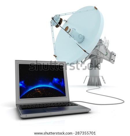 Global communication system concept, satellite dish connected to the computer (Elements of this image furnished by NASA) - stock photo