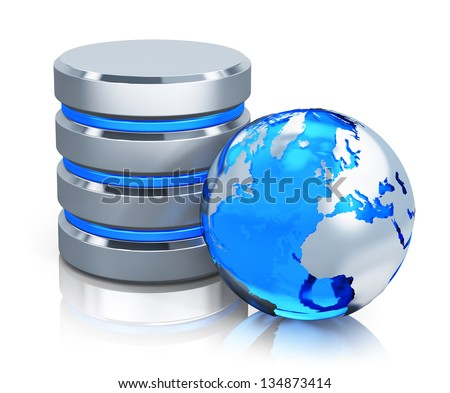 Global communication, web computer networking and telecommunication internet concept: metal HDD icon and blue Earth globe isolated on white background with reflection effect