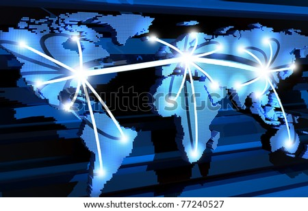Global communications ans earth (done in 3d,abstract) - stock photo