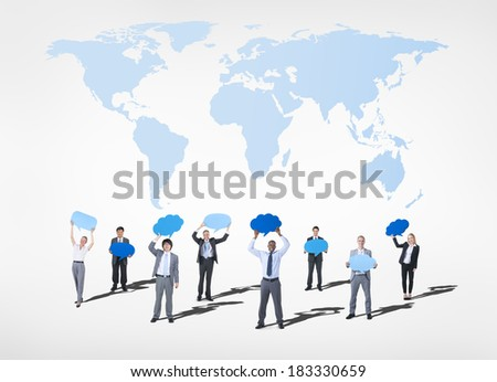 Global Communications Business People Holding Speech Bubbles