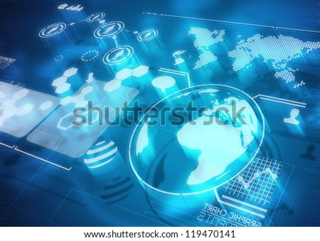 Global Communications - Modern Screen Diagrams - stock photo