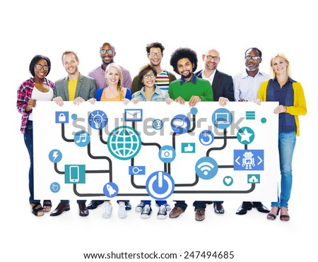 Global Communications Social Networking Togetherness Community Online Concept - stock photo