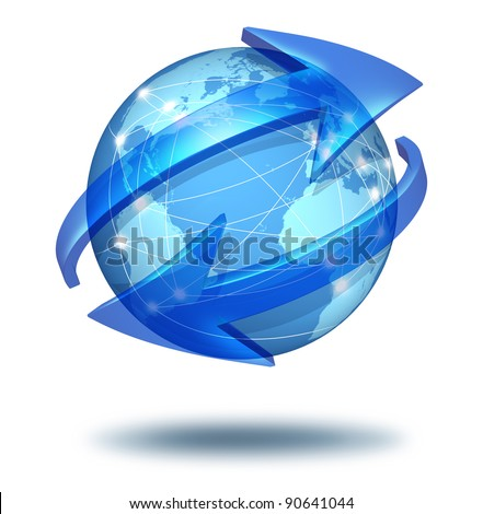 Global communications symbol and connections concept with a blue international globe of the world with two curved arrows around a sphere as a social exchange and trade icon for imports and exports.