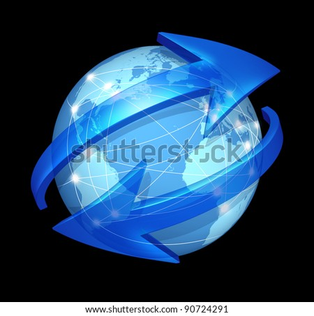 Global communications symbol  on black as connections concept on blue international world globe with two curved arrows as a social exchange and trade icon for digital media content distribution. - stock photo