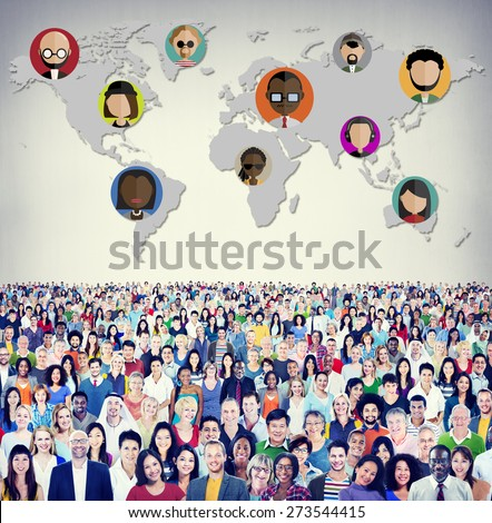 Global Community World People International Nationality Concept - stock photo