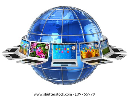 Global computer communication and connectivity concept: circle of laptops around blue glossy Earth globe isolated on white background - stock photo