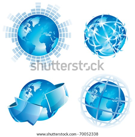 Global concepts for business, internet and networks. Raster version. Vector version is also available.