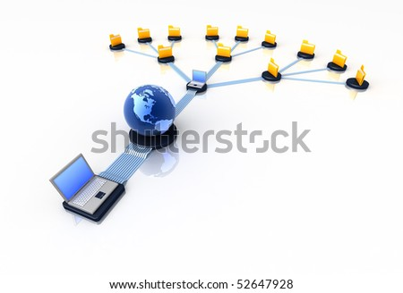 Global connection of computers - stock photo