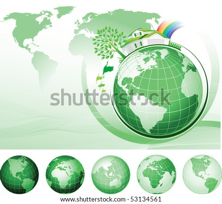 Global Conservation Concept. Raster version of vector illustration.