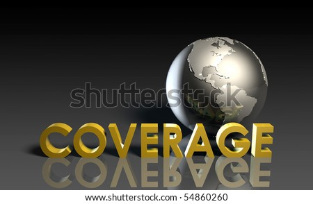 Global Coverage Service System Worldwide in 3d