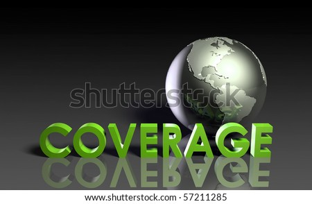 Global Coverage Service System Worldwide in 3d - stock photo